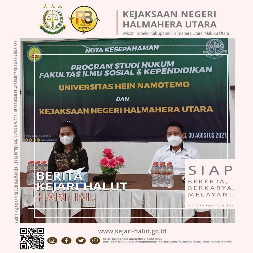 MoU Universitas Hein Namotemo dengan Kejaksaan Negeri Halmahera Utara